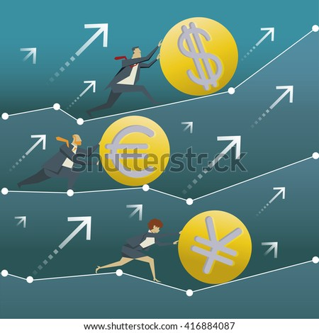 Business concept. Businessmen are pushing for the money in the world that are volatile. - stock vector