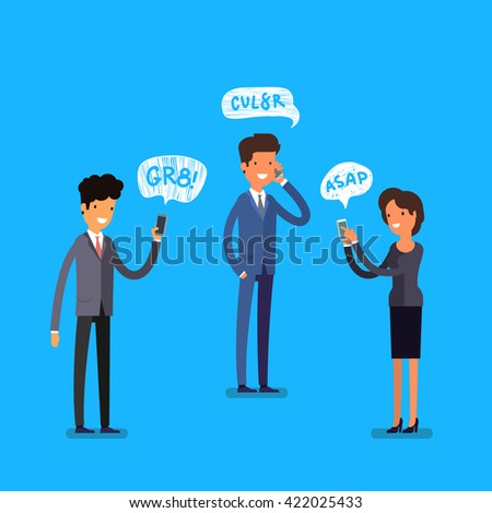 Business concept. Cartoon business people with mobile phones. Modern lifestyle. Flat design, vector illustration. - stock vector