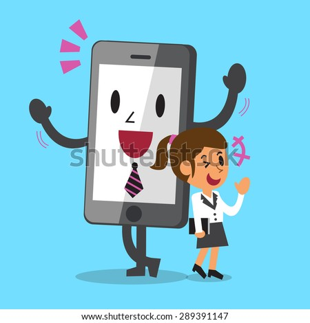 Business concept cartoon smartphone and businesswoman standing together smiling - stock vector