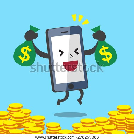 Business Concept Cartoon Smartphone Character Earning Money - stock vector