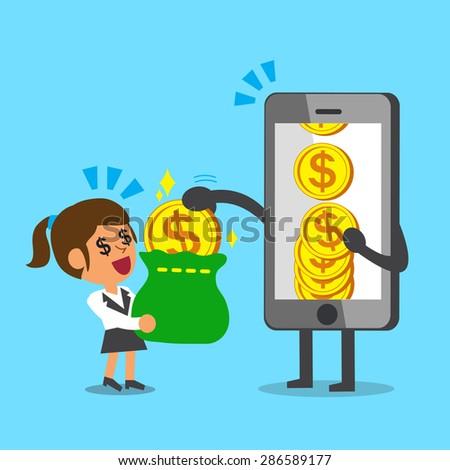 Business concept cartoon smartphone giving money coin to businesswoman - stock vector
