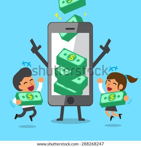 Business concept cartoon smartphone help business team to earn money stacks - stock vector
