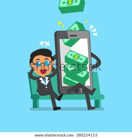 Business concept cartoon smartphone help businessman to earn money stack - stock vector