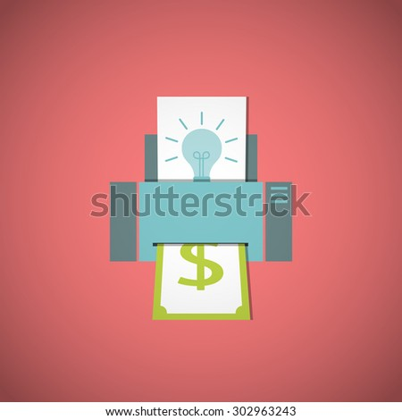 Business concept. Converting ideas into money. Vector illustration. - stock vector