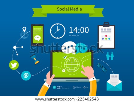 Business concept flat icons set of cloud computing analytic social media and creative process design elements vector illustration. - stock vector