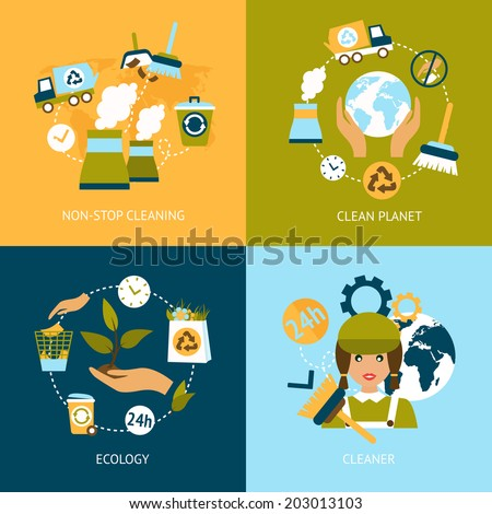 Business concept flat icons set of ecology non stop planet cleaning green infographic design elements vector illustration - stock vector