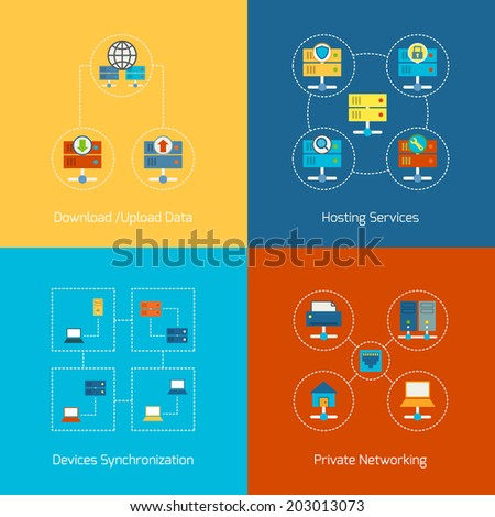 Business concept flat icons set of hosting computer network internet technology infographic design elements vector illustration - stock vector