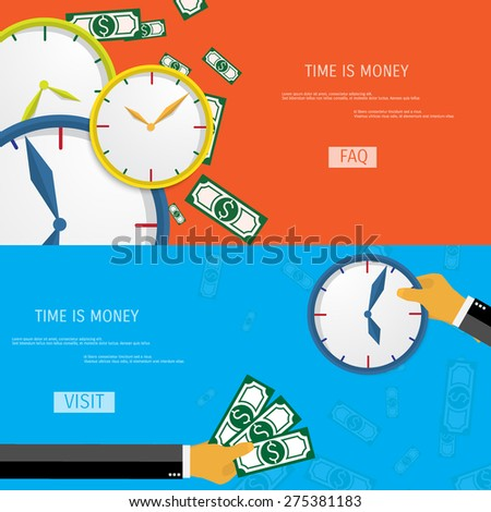 Business concept for time management. Time is money. - stock vector