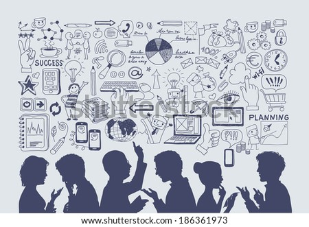 Business concept. Hand drawn vector illustration. silhouettes of people on a background of business icons. - stock vector