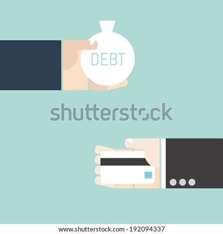 Business concept. Hand exchange debt and credit card. - stock vector