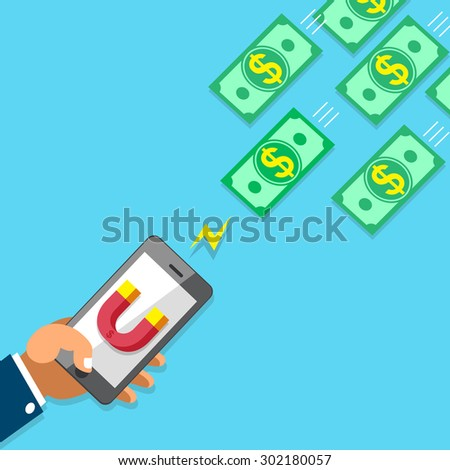 Business concept hand using smartphone with magnet icon to attracts money - stock vector