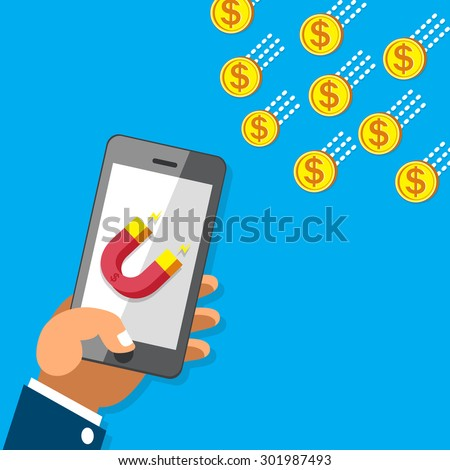 Business concept hand using smartphone with magnet icon to attracts money coins - stock vector