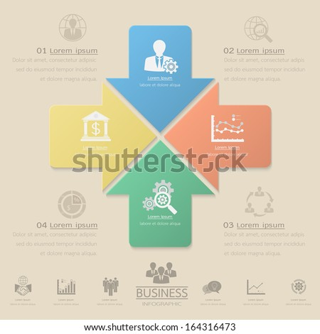 Business Concept Icon with Arrow Direction - stock vector