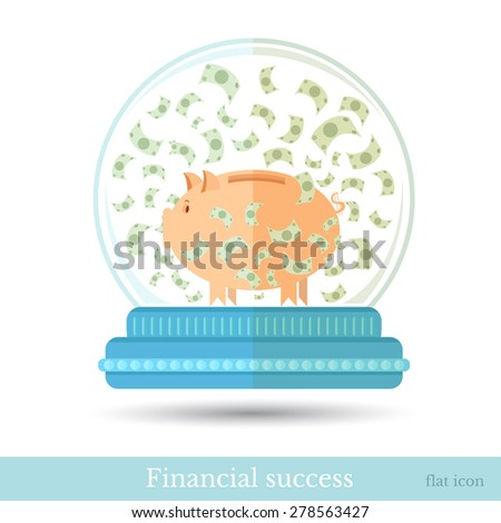 Business concept illustration in flat style. Piggy bank with banknotes flying around into snow globe isolated on white - stock vector