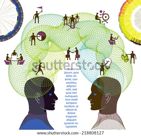 Business concept. Illustration of collaboration, teamwork and creative thinking - stock vector