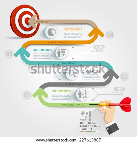 Business concept infographic template. Business step target marketing dart idea. Can be used for workflow layout, banner, diagram, web design, timeline template. - stock vector