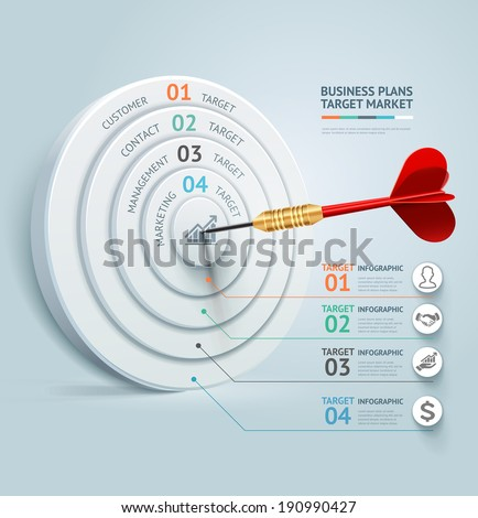 Business concept infographic template. Business target marketing dart idea. Can be used for workflow layout, banner, diagram, web design. - stock vector