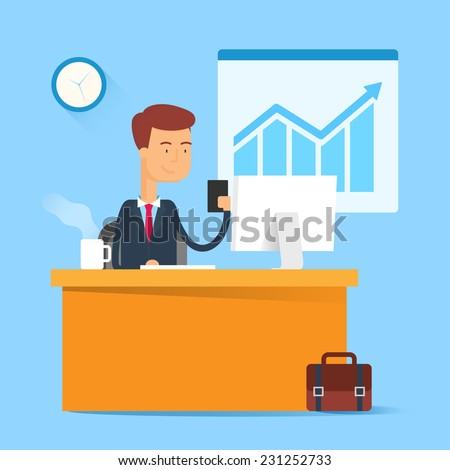Business concept - man sitting at the table and working on the computer in the office. Vector illustration, flat style - stock vector