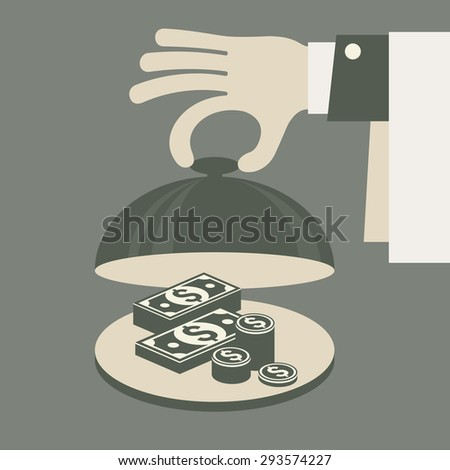 Business concept, money on tray, vector illustration - stock vector
