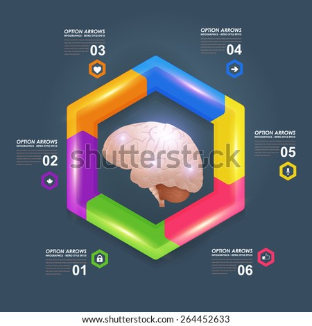Business Concept Multicolor Brain Idea, Health or Capacity Plastic Effect Infographics Vector Design - stock vector