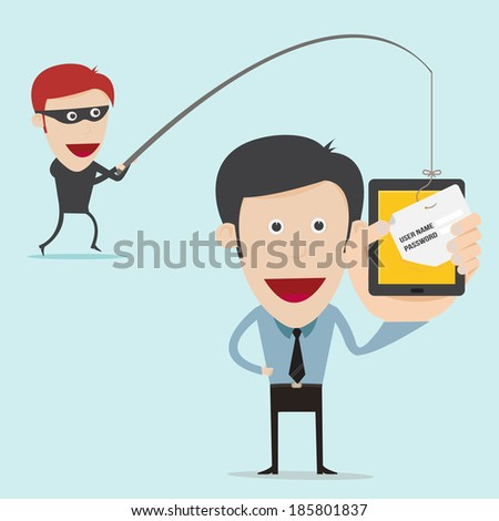 business concept of internet scam with phising  - stock vector