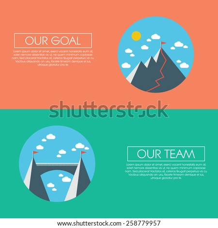 Business concept of success, goals, targets, aims and teamwork. Abstract flat design presentation template. Eps10 vector illustration. - stock vector