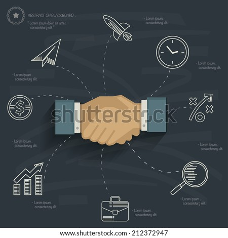 Business concept on blackboard background,clean vector - stock vector