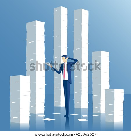 Business concept paperwork and overworked, vector illustration of an employee engaged in work with documents on the background of the large stacks of papers - stock vector