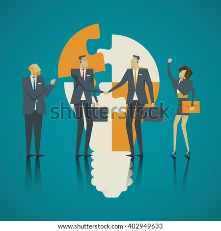 Business concept. Team businessmen welcome new colleagues to be part of a strong team. - stock vector