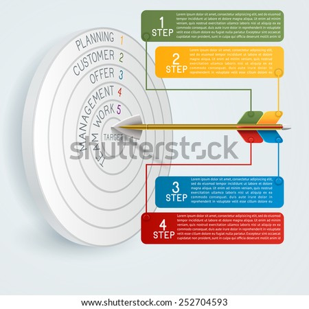 Business concept template Business target reaching idea with arrow. Can be used for education, banner, template, diagram. EPS 10 contains transparency - stock vector