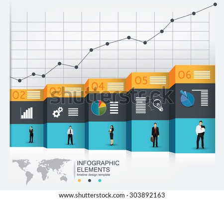 Business concept template for infographics, powerpoint presentations and other media - stock vector