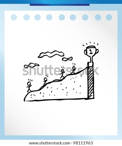 business concept trophy vector illustration doodle - stock vector