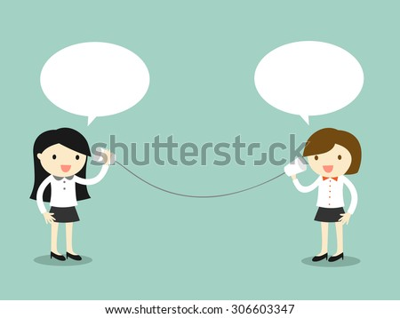Business concept, Two business woman talking via cup telephone. Vector illustration. - stock vector