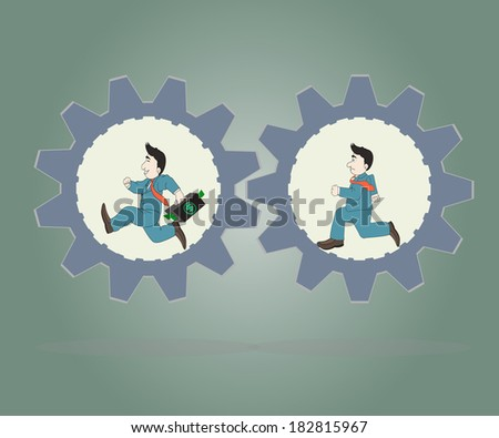 Business concept,Two Businessman wearing suits running inside of metal gears,Vector illustration. - stock vector