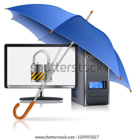 Business concept - Umbrella protects Computer with Lock on Screen, vector illustration - stock vector