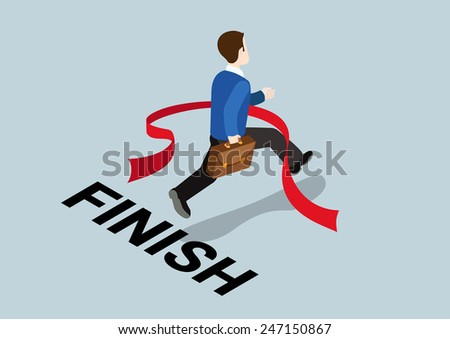 Business concept winning finish of challenge flat 3d web isometric infographic vector. Businessman finishing red thin line. Creative people collection. - stock vector