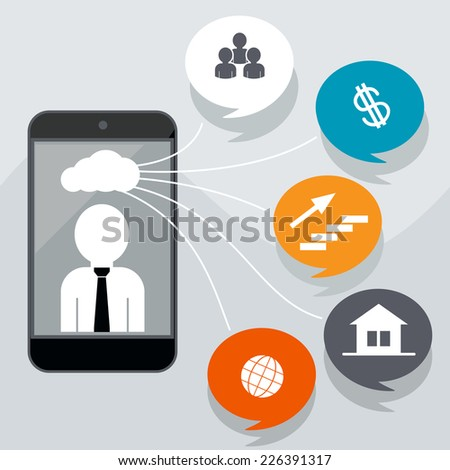 Business concept with icons of contacts, home page, finance, network, career. Man in smartphone with cloud of icons - stock vector