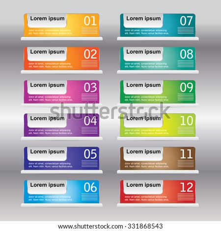Business concept with 12 options, parts, steps or processes. Can be used for workflow layout, diagram, number options, web design. - stock vector
