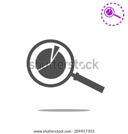 Business Concept with Pie Chart and Magnifying Glass. Vector - stock vector