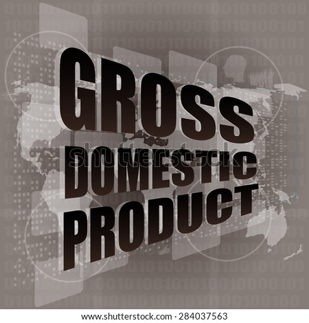 business concept: word gross domestic product on digital screen vector - stock vector