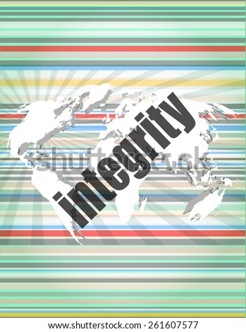 business concept: word integrity on digital background - stock vector