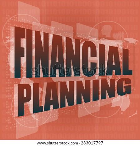 business concept: words financial planning on digital screen, vector - stock vector
