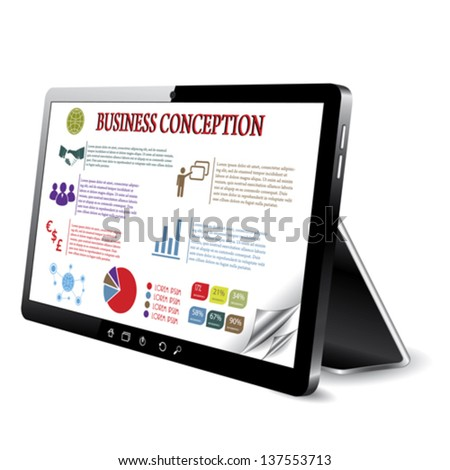 Business conception on the tablet computer screen. Vector illustration - stock vector