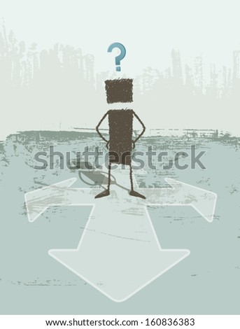 Business Concepts: Doubt. A person does not know which path to choose. EPS8 Illustration. - stock vector