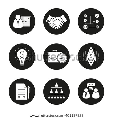 Business concepts icons set. Teamwork, company hierarchy, work management. Presentation with graph, signed contract, handshake. Problem solving, profit idea, goal achievement spaceship symbol. Vector - stock vector