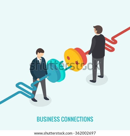 Business connection concept. Isometric 3d vector - stock vector