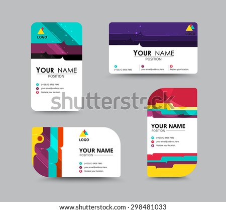 Business contact card template design. contrast color design. vector illustration. - stock vector