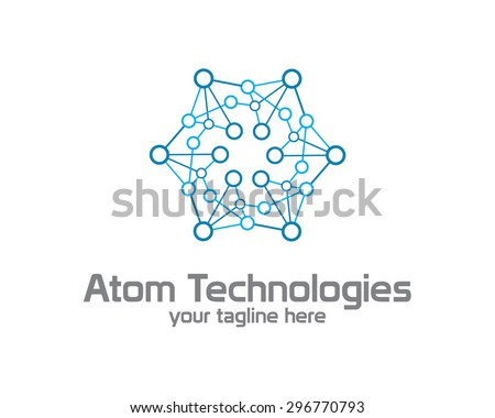 Business corporate Atom nuclear technology  logo design template. Simple and clean flat design of atom illustration vector . - stock vector
