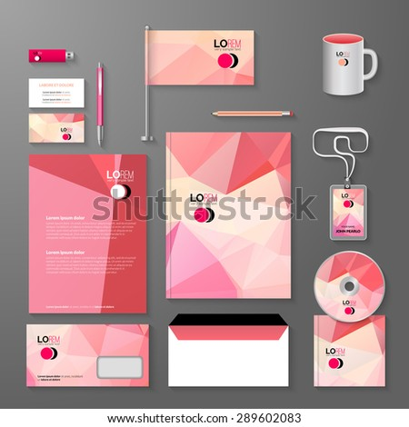 Business corporate identity template. Vector company triangle style for brandbook and guideline, pen, cd disc, cup, letter, flag, business cards  - stock vector