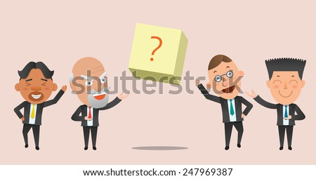 Business corporation product introduce concept flat character - stock vector